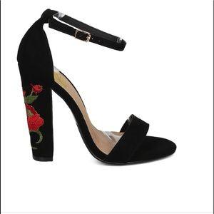 FRH floral embroidered heel sandals